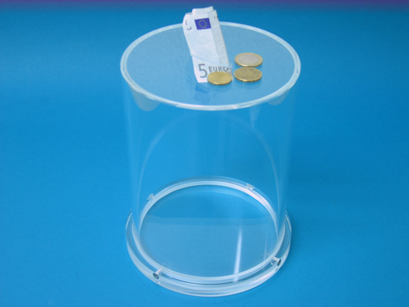 Charity Box/Lottery Box/Coin Collectors of acrylic ø15cm H:20cm