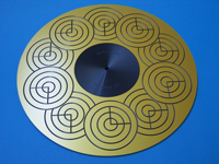ACRYLIC TURNTABLE MAT Sterling Gold surface-finished with label recess