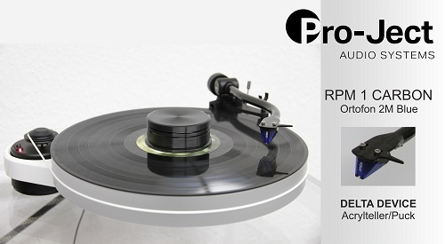 PRO-JECT RPM 1 CARBON + Ortofon 2M Blue + DELTA DEVICE UPGRADE | chassis: weiß