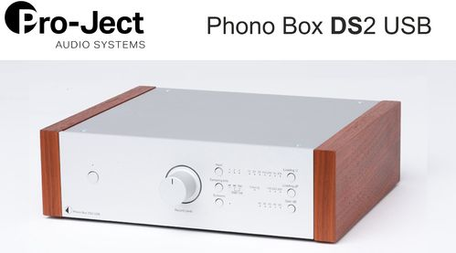 Pro-Ject Phono Box DS2 USB | silver with wooden side panels rosenut