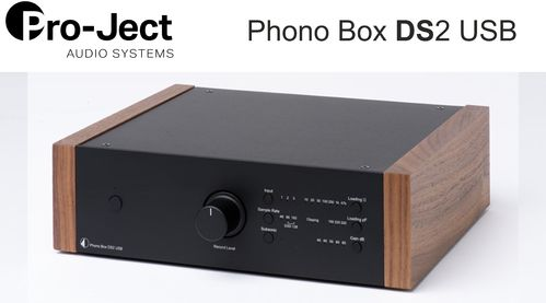 Pro-Ject Phono Box DS2 USB | black with wooden side panels walnut